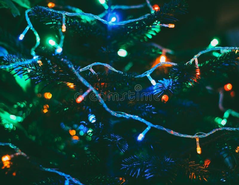 Luces de la Navidad en árbol del Año Nuevo fotos de archivo libres de regalías