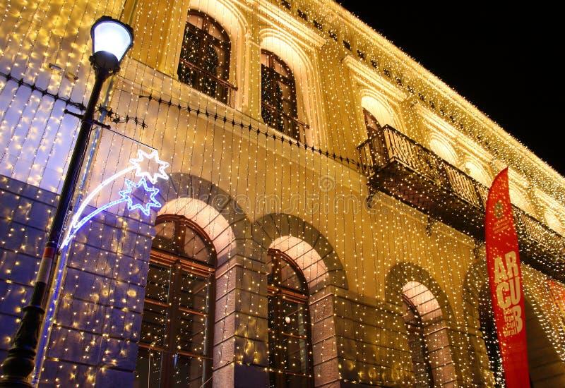 Luces de la Navidad en Bucarest, Rumania fotografía de archivo libre de regalías