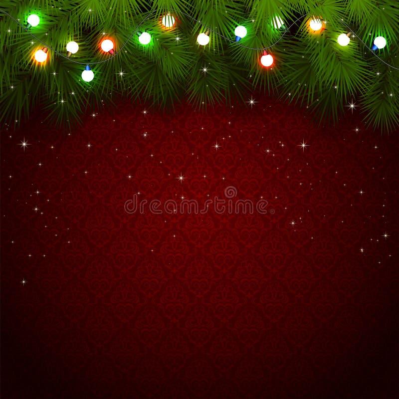 Luces de la Navidad en fondo rojo libre illustration