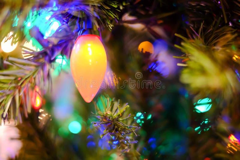 Luces de la Navidad en un árbol imagen de archivo libre de regalías