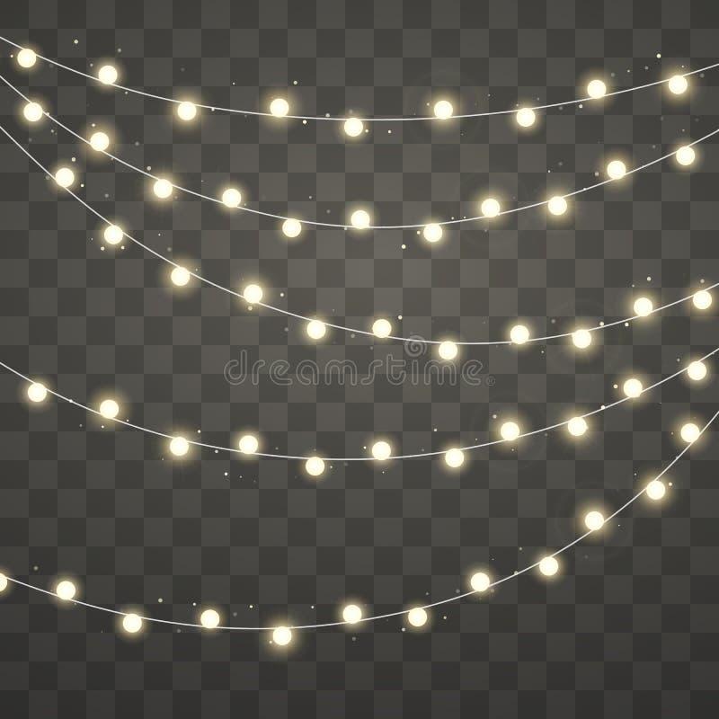 Luces de la Navidad Guirnalda que brilla intensamente de Navidad Elementos decorativos del diseño del día de fiesta Decoraciones  stock de ilustración