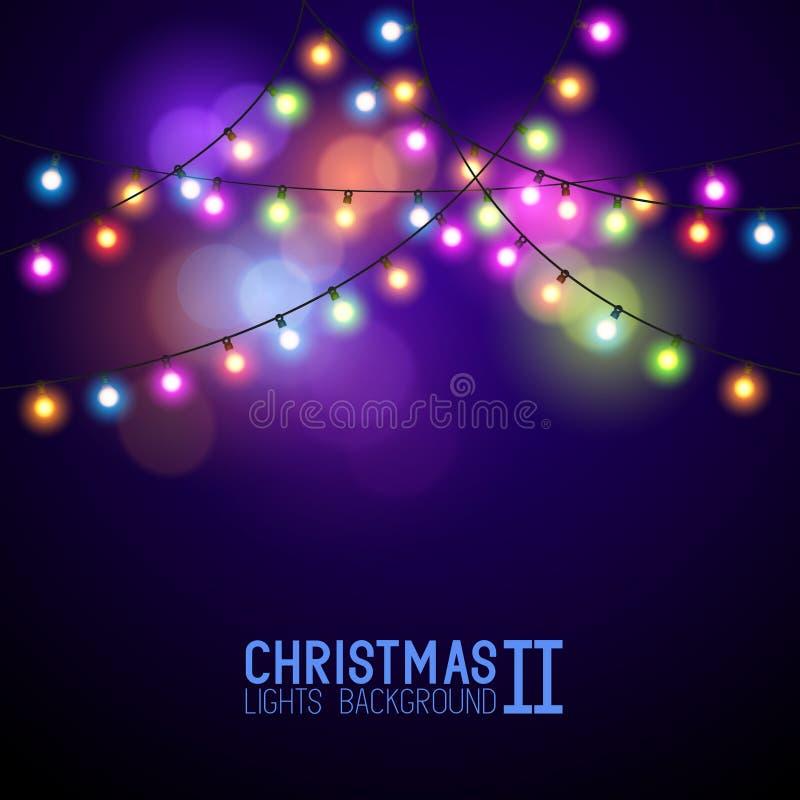 Luces de la Navidad que brillan intensamente coloridas ilustración del vector