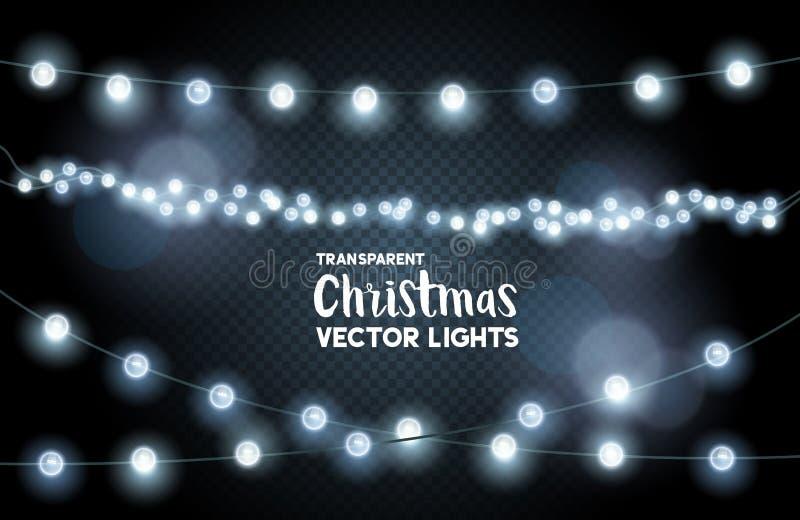 Luces de la Navidad que brillan intensamente de plata ilustración del vector