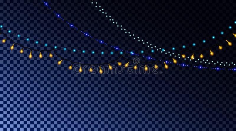 Luces de la Navidad realistas, guirnaldas que brillan intensamente coloreadas, elemento del diseño del Año Nuevo ilustración del vector