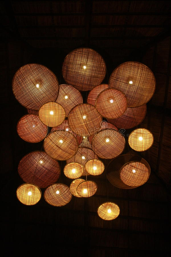 Luces de mimbre foto de archivo