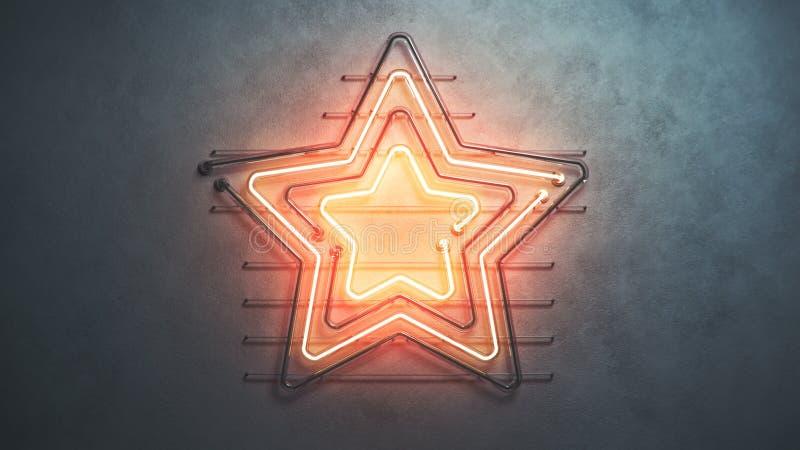 Luces de neón asteroides anaranjadas en la pared 3D rendir libre illustration