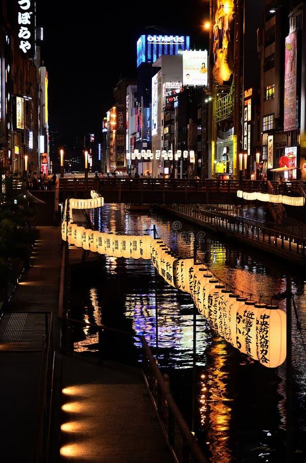 Luces de neón de la ciudad de Osaka, Japón imágenes de archivo libres de regalías