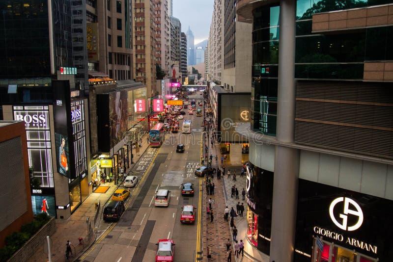 Luces de neón en la calle de Tsim Sha Tsui fotografía de archivo