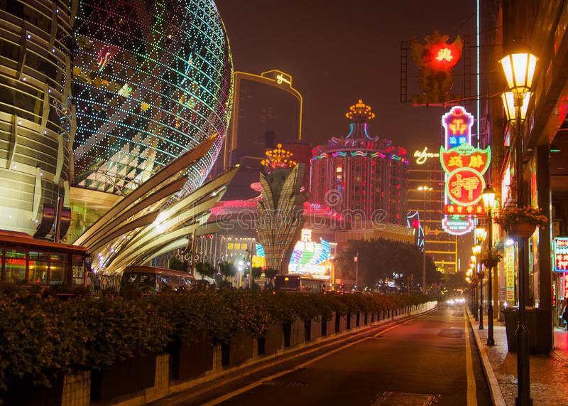 Luces de neón de Macao fotos de archivo libres de regalías