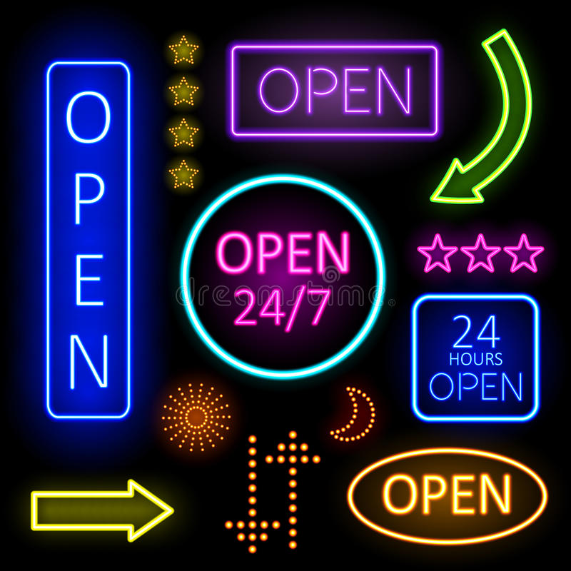 Luces de neón que brillan intensamente para las muestras abiertas stock de ilustración