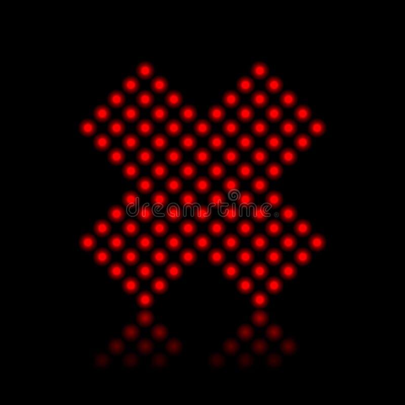 Luces de neón rojas que paran la cruz stock de ilustración