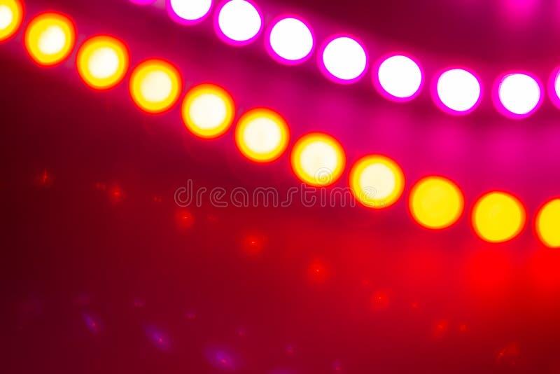 Luces de neón rojas y púrpuras de Duotone del bokeh Fondo abstracto festivo de los colores 80s foto de archivo libre de regalías