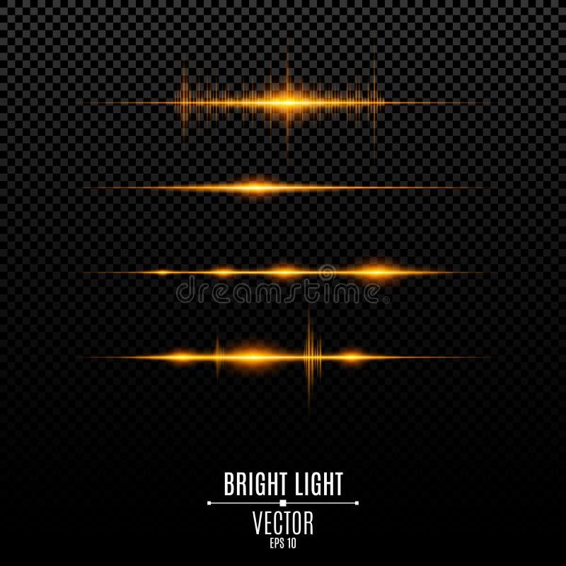 Luces de oro abstractas Líneas de neón que brillan intensamente Se aíslan las vibraciones sanas y los flashes ligeros ilustración del vector
