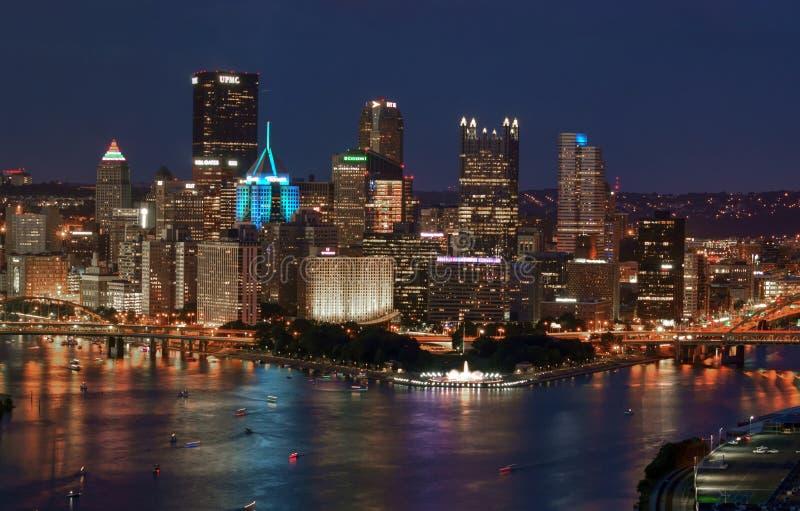 Luces de Pittsburgh céntricas imágenes de archivo libres de regalías