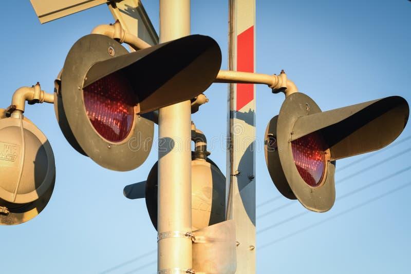 Luces de seguridad en la travesía del tren fotos de archivo