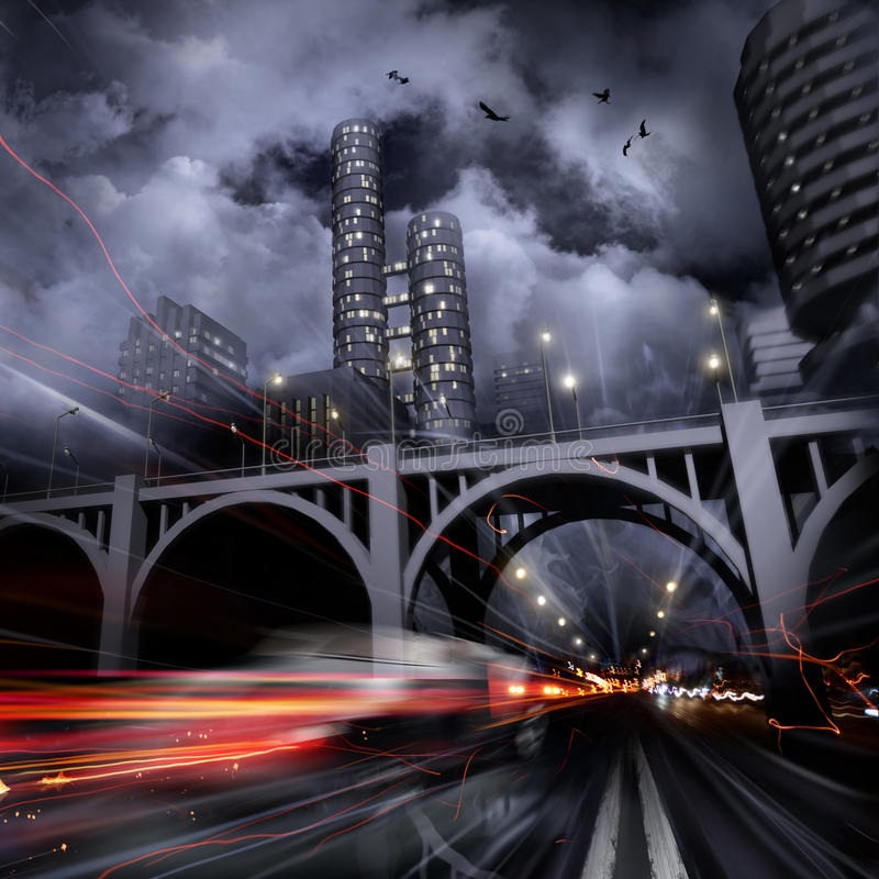 Luces de una ciudad de la noche ilustración del vector