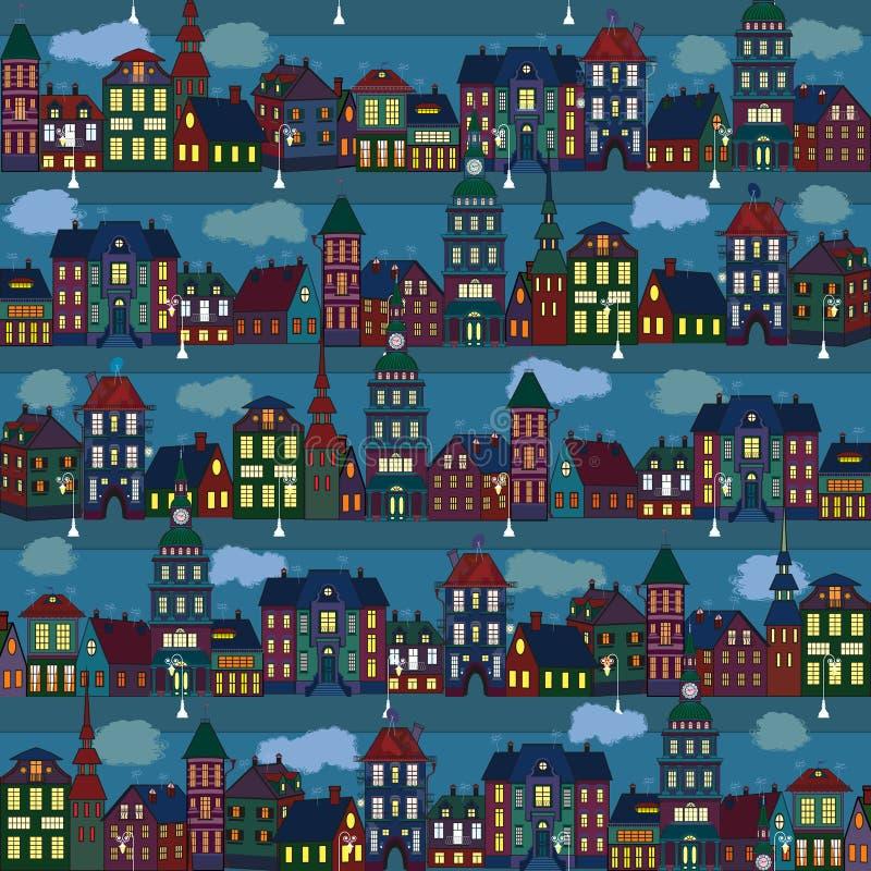 Luces de una pequeña ciudad ilustración del vector