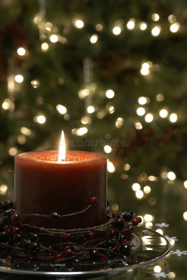 Luces del árbol de la vela de la Navidad imágenes de archivo libres de regalías