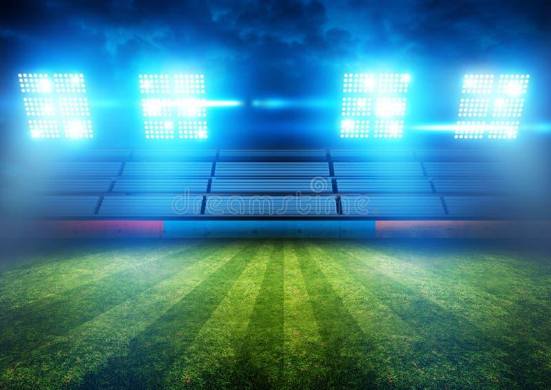 Luces del estadio de fútbol fotos de archivo