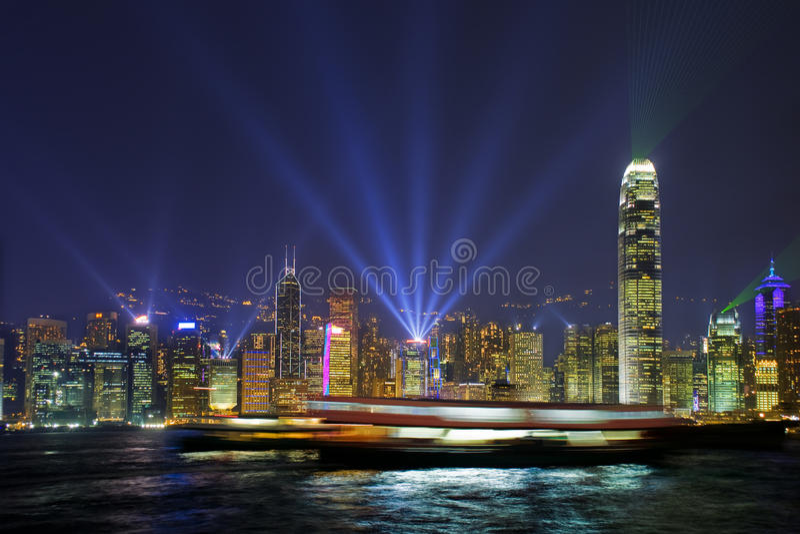 Luces del puerto de Hong-Kong imagen de archivo libre de regalías