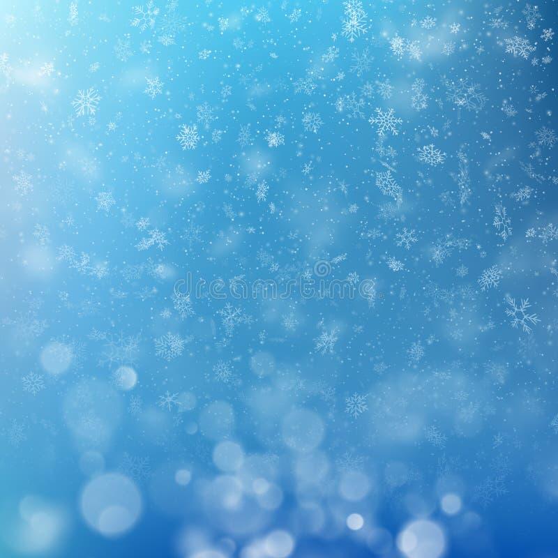 Luces en fondo azul con efecto del bokeh de los copos de nieve de la Navidad EPS 10 stock de ilustración