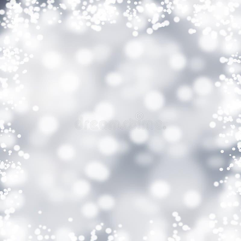 Luces en fondo gris, chispas, marco fotografía de archivo