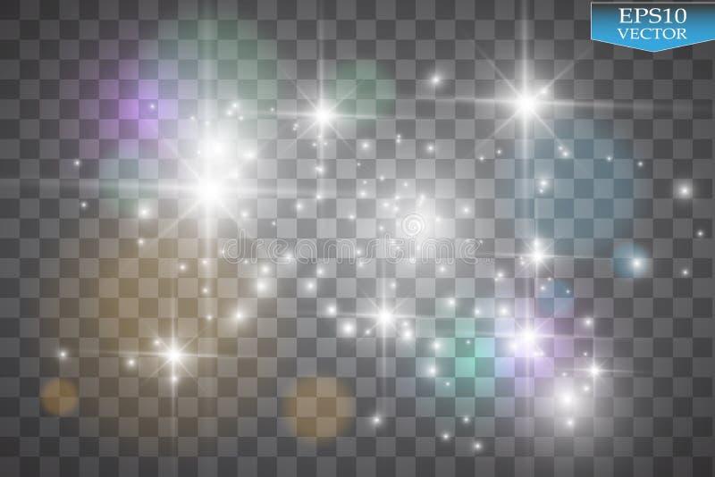 Luces en fondo transparente Ejemplo blanco del extracto de la onda del brillo del vector Rastro blanco del polvo de estrella que  stock de ilustración