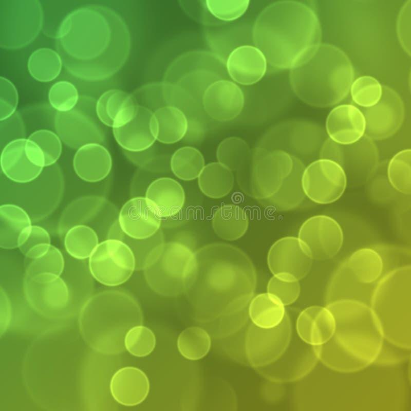 Luces en fondo verde. ilustración del vector