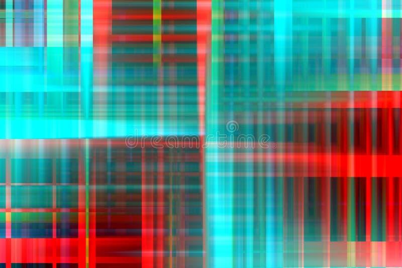 Luces, formas y formas azules rojas fosforescentes, fondo abstracto geométrico stock de ilustración