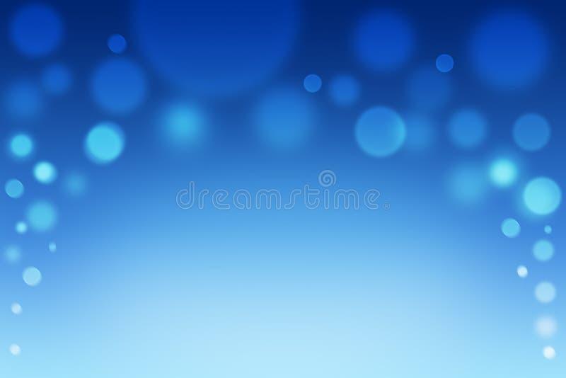 Luces hermosas del bokeh del invierno Fondo enmascarado azul Contexto abstracto de la nieve de la Navidad stock de ilustración