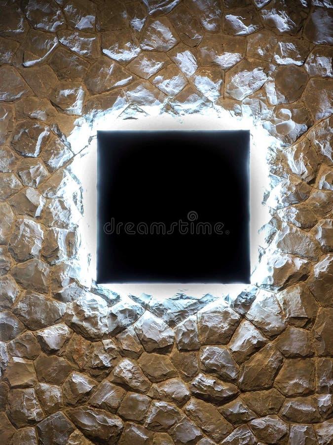 Luces LED en blanco de la cartelera ocultadas en la pared de piedra imagen de archivo libre de regalías