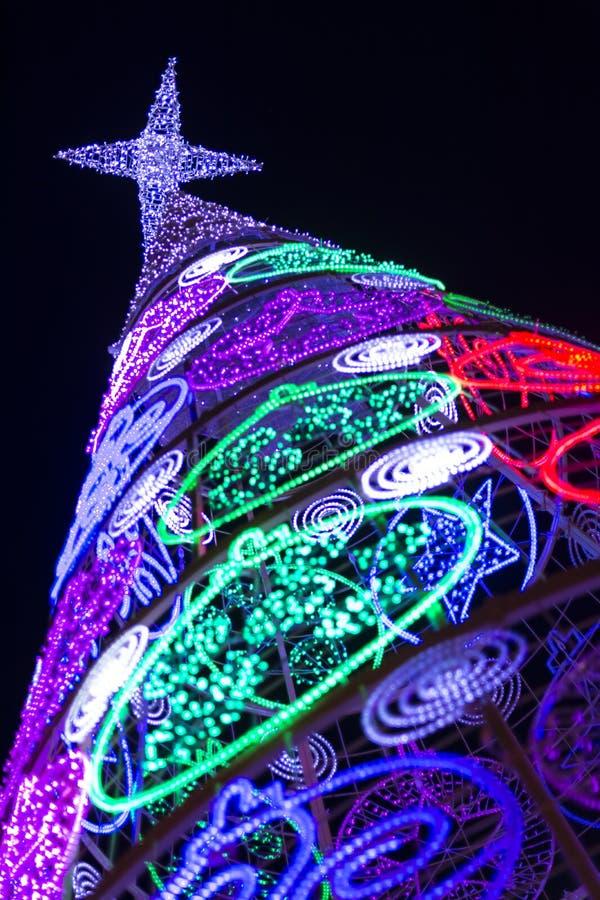 Luces llevadas del árbol de navidad imágenes de archivo libres de regalías