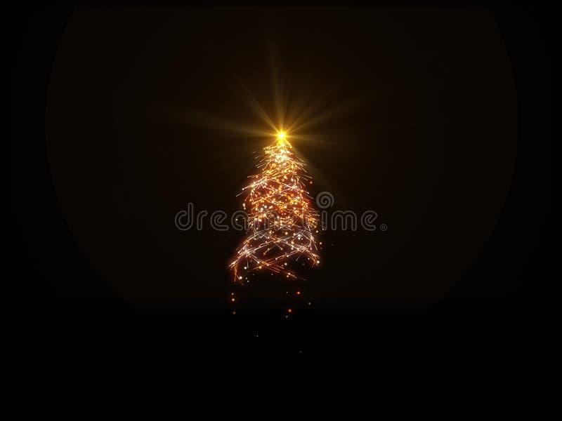 Luces mágicas del árbol de navidad en el fondo negro para la capa stock de ilustración
