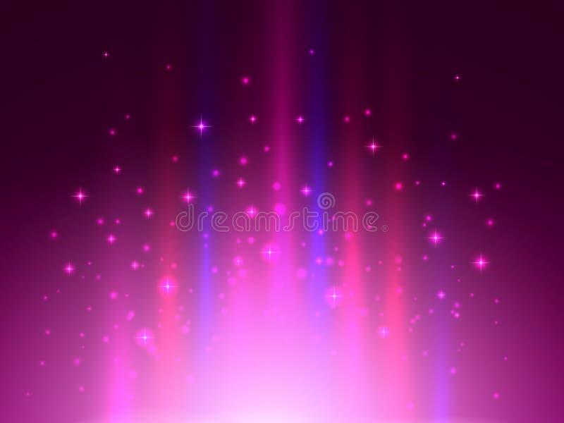Luces mágicas del proyector Fondo abstracto del color Explosión de la luz y párticulas de polvo retroiluminadas Ilustración del v ilustración del vector