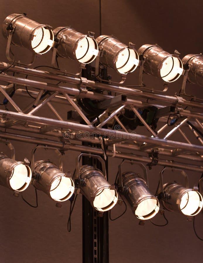 Luces o proyectores de la etapa foto de archivo