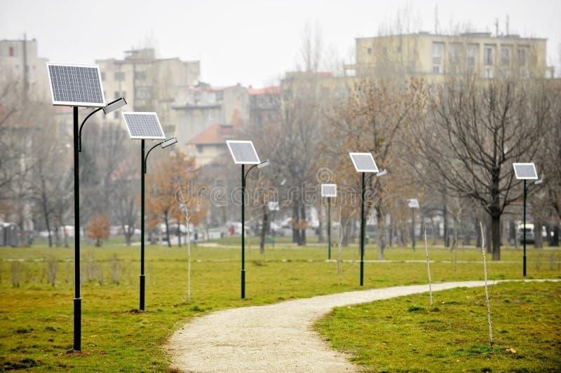 Luces públicas fotovoltaicas fotografía de archivo