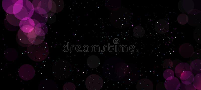 Luces púrpuras abstractas del brillo del fondo del bokeh con los círculos Elemento de la decoración de la tarjeta del día de fies libre illustration