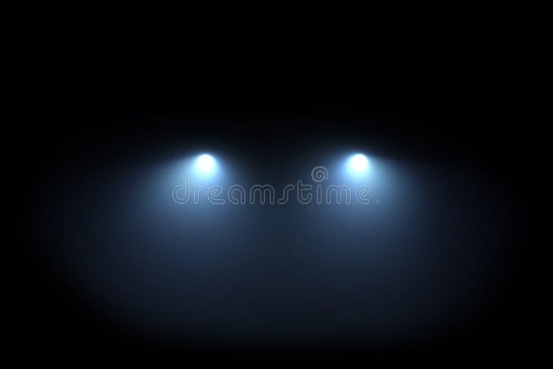 Luces principales del coche que brillan de oscuridad libre illustration