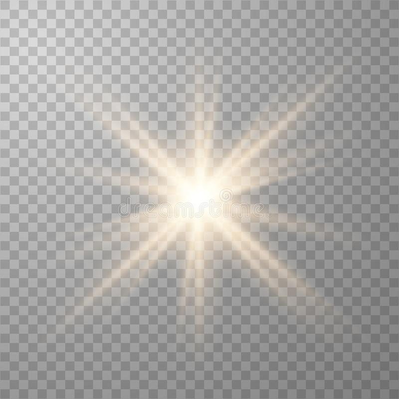 Luces que brillan intensamente de oro ilustración del vector