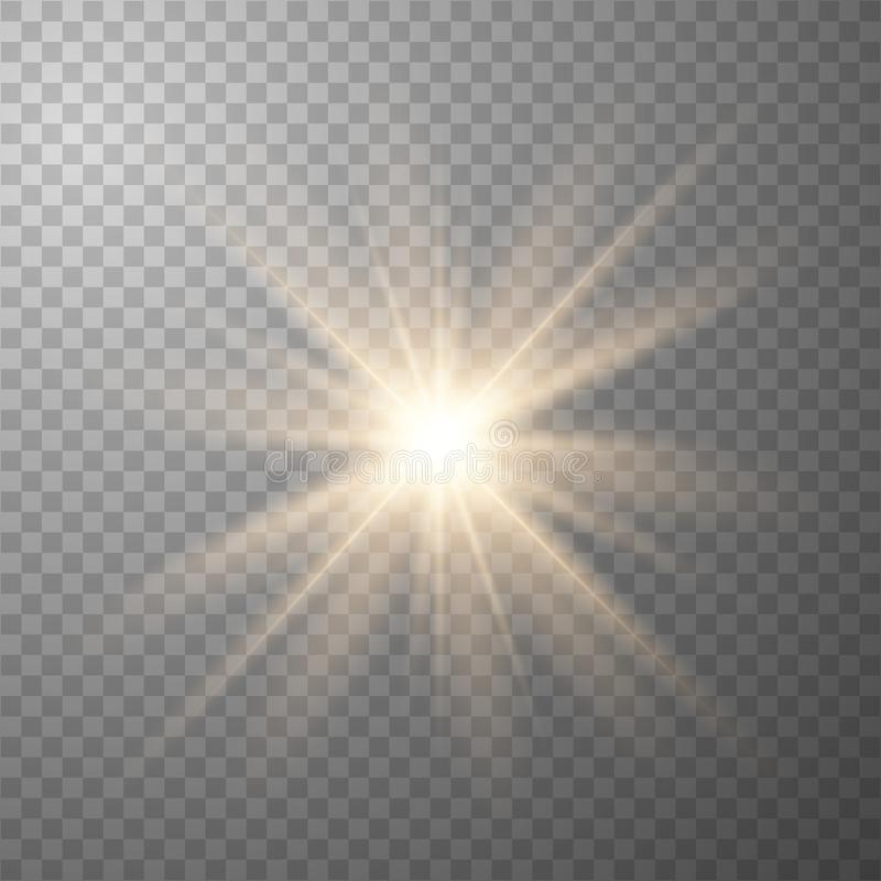 Luces que brillan intensamente de oro stock de ilustración
