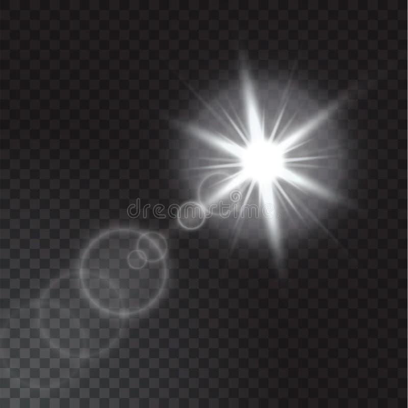 Luces realistas del haz en fondo transparente fotografía de archivo libre de regalías