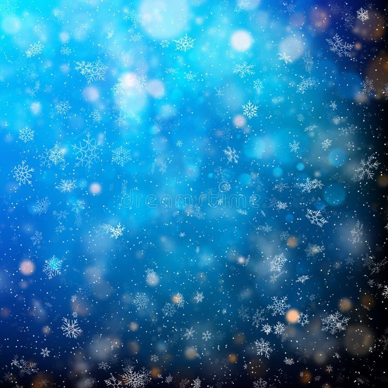 Luces y copos de nieve blancos brillantes abstractos del reflejo Disperse la luz redonda de las partículas que cae EPS 10 libre illustration