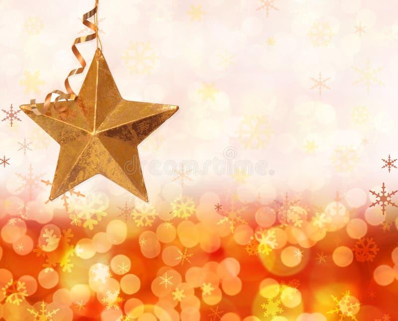 Luces y estrella de la Navidad stock de ilustración