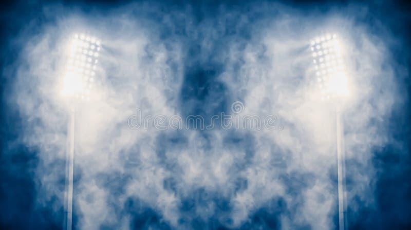 Luces y humo del estadio foto de archivo