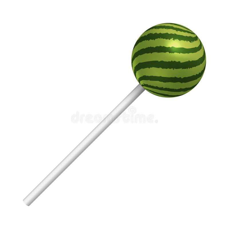 Lucette de pastèque sur un fond blanc Une sucrerie douce réaliste Illustration de vecteur illustration stock