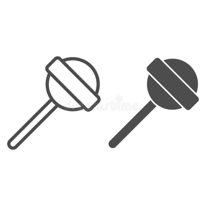 Lucette sur la ligne de bâton et l'icône de glyph Illustration douce de vecteur de nourriture d'isolement sur le blanc Style d'en illustration libre de droits
