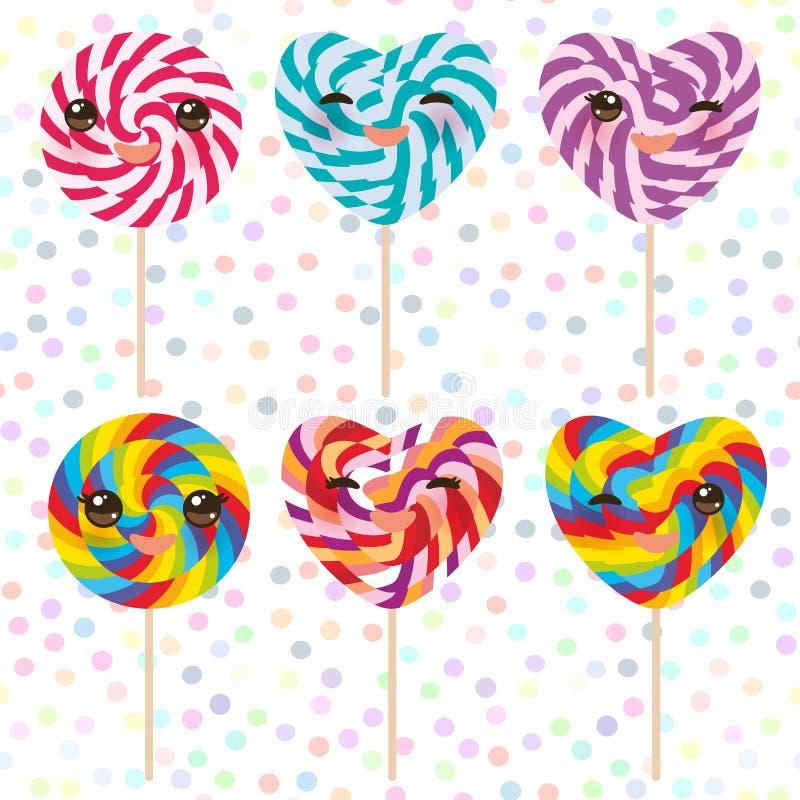 Lucettes colorées de sucrerie d'ensemble de Kawaii avec l'arc, canne de sucrerie en spirale Sucrerie sur le bâton avec la concept illustration de vecteur