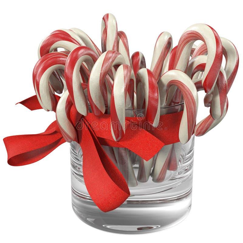 Lucettes dans un verre avec un arc rouge, illustration 3d illustration stock