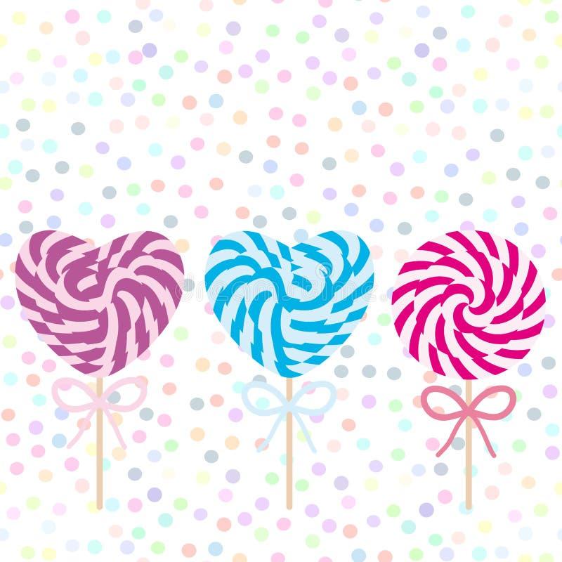 Lucettes en forme de coeur de sucrerie d'ensemble de jour du ` s de Valentine avec l'arc, canne de sucrerie en spirale Sucrerie s illustration stock