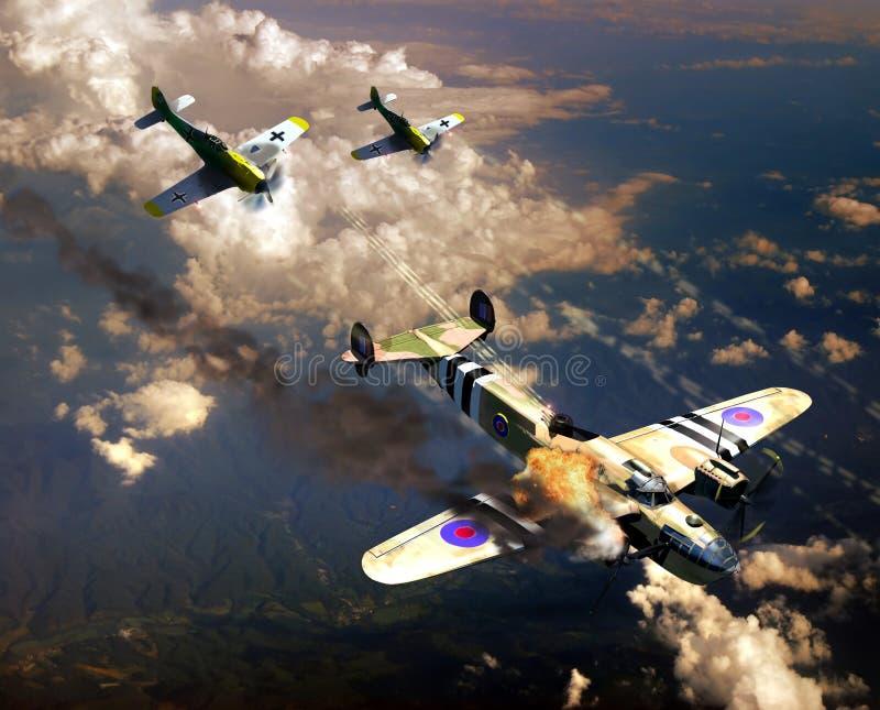 Lucha aérea de la Segunda Guerra Mundial stock de ilustración